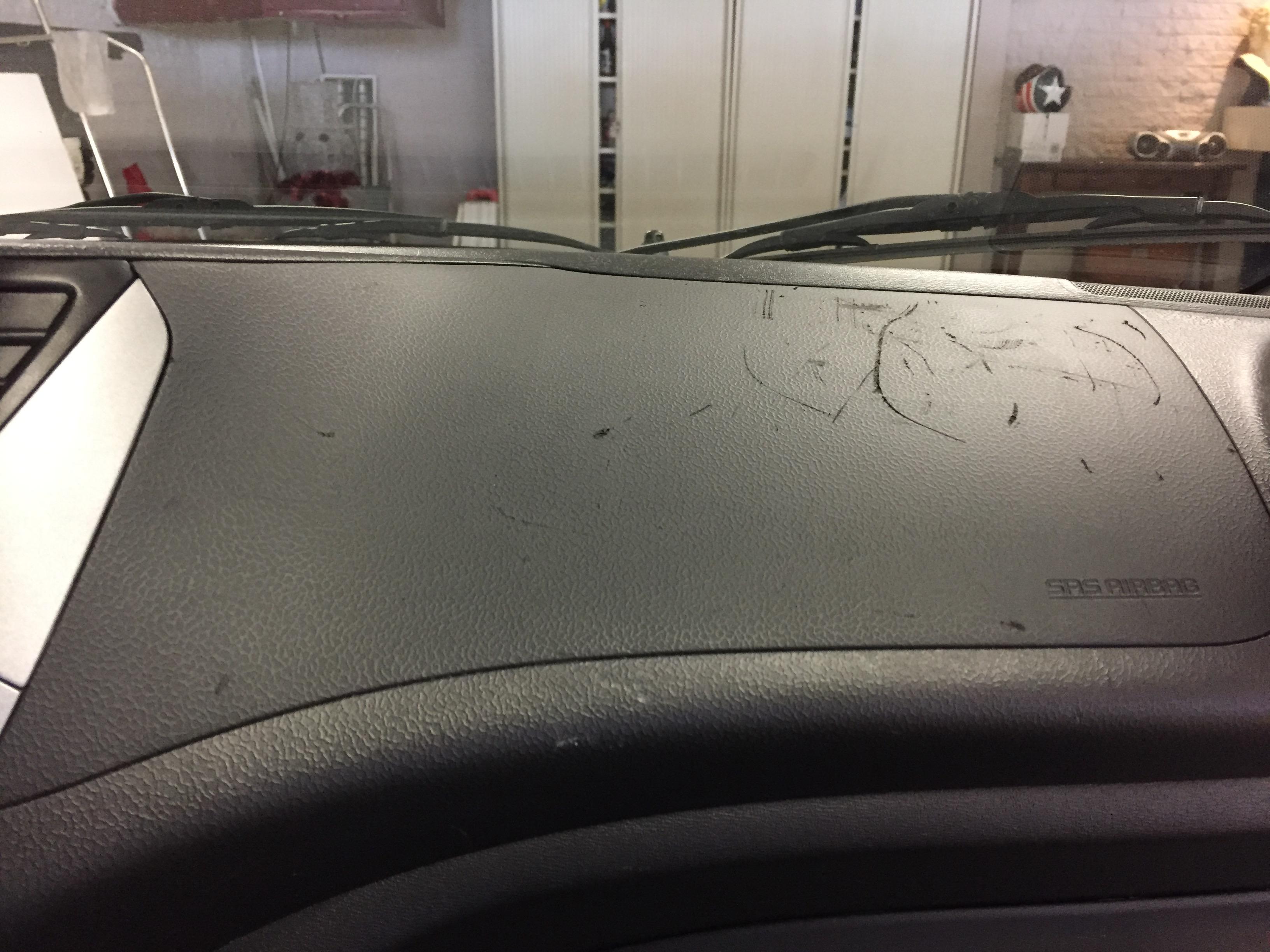krassen, schade, dashboard, auto, interieur