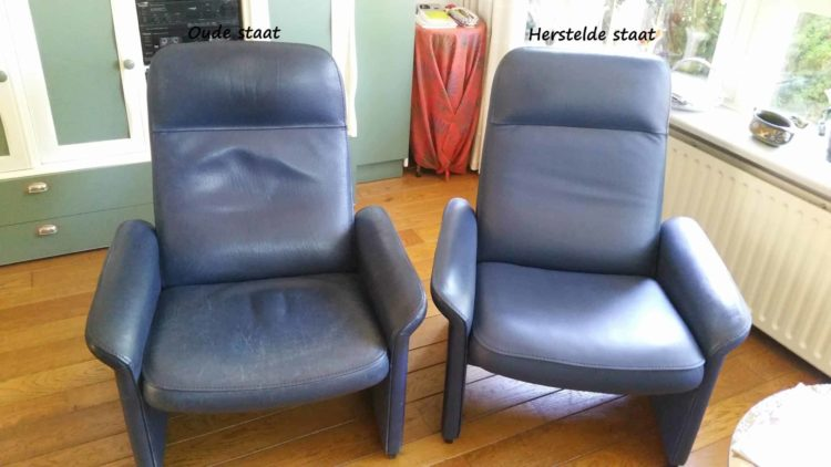 meubel, fauteuil, leer, versleten, opknappen, restaureren